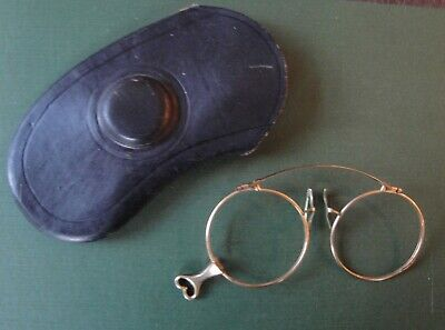 24f9a309ca2 ANTIQUE FOLDING GOLD PLATED EYEGLASSES SPECTACLES LORGNETTE SIGNED VARSITY   Case