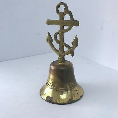 Vintage Brass Anchor Nautical Bell Sailor Rope Made in England Patina