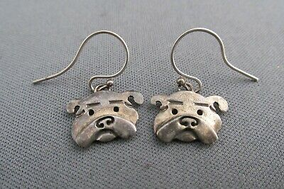 Vintage Ahd Mexico Sterling 3D American Bulldog Face Pierced Dangle Earrings