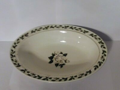 """Hall China Cameo Rose Oval Serving Bowl 10.5"""" White Flower Rose Jewel Homemakers"""