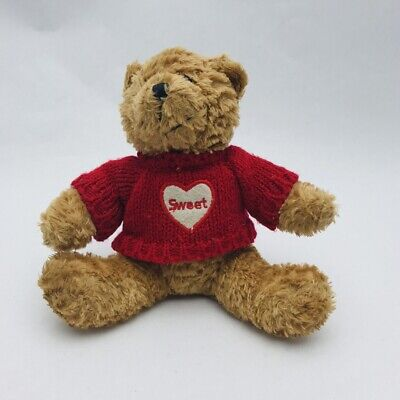 """Galerie Valentines Day TEDDY BEAR 6"""" Brown Plush Target Red Heart Love Sweater"""