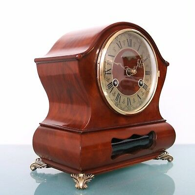 WARMINK WUBA Vintage Clock DUTCH BIEDEMEIJER Mantel TOP! 2 BELL Chime HIGH GLOSS