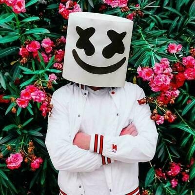 MarshMello DJ Mask Full Head LED Helmet Cosplay Mask Bar Music Props Marshmallow