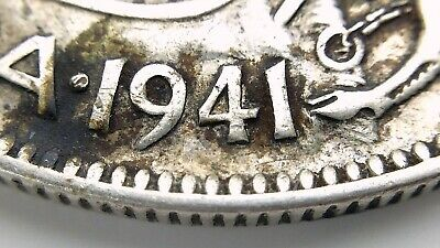 1941 Wide Date Canada 50 Fifty Cent Half Dollar Circulated George VI Coin J250