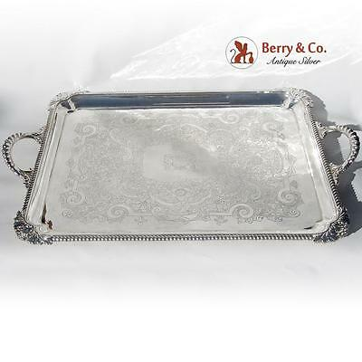 Large Ornate Serving Tray Silverplate 1860