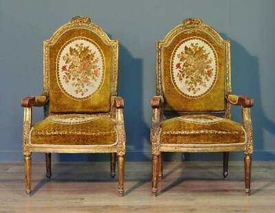 Large Pair Of 2 Antique Victorian Giltwood Armchairs Chairs For Reupholstery