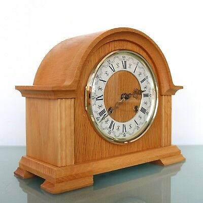HERMLE German Vintage Mantel Clock SERVICED! 3 Bar Chime BLOND Wood! Mid Century