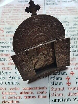 RARE ANCIENT SILVER RELIC MOUNT ATHOS : with Greek travel icon - 1887 - Special