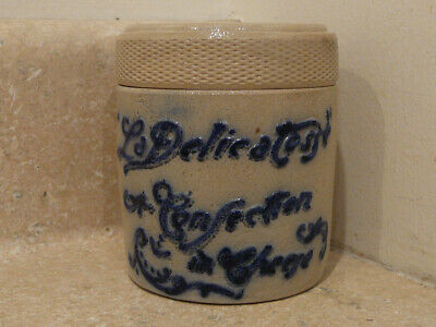 Antique White's Utica Ny Stoneware Covered Cheese Jar Cobalt Blue & Gray