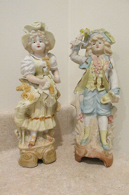 S38 antique german bisque porcelain china figurines statues boy girl