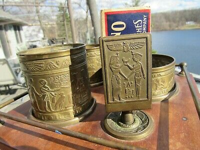ANTIQUE 1920's ARTS AND CRAFTS / ART DECO EGYPTIAN SMOKING STAND SET COMPLETE
