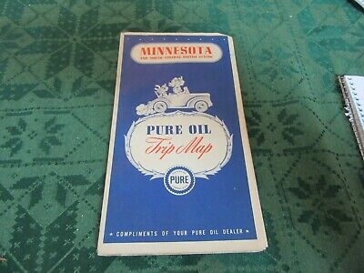 Road Map 1940 Census Minnesota Pure Gas Oil  Lot 19-23-ec