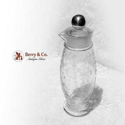 Ornate Decanter Acid Etched Glass Sterling Silver Sheffield Silver Co 1940