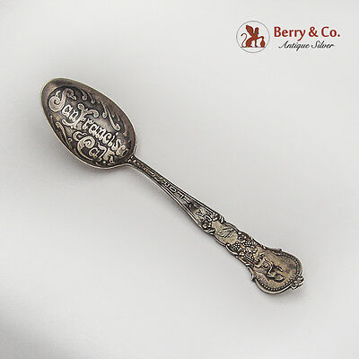 California Souvenir Spoon Acid Etched Bowl Baker Manchester Sterling Silver 1900