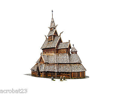 Building BORGUND STAVE CHURCH Norway HO Scale 1/87 Railway Model Kit Cardboard