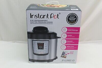 Instant Pot LUX60 V3 6 Qt 6-in-1 Muti-Use Programmable Pressure Cooker, Silver