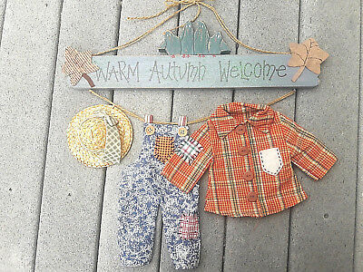 Vintage Hanging Wooden Fabric Wall Door Sign Laundry Clothesline Home Decor