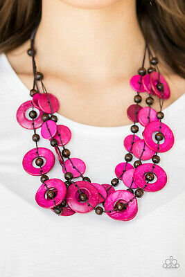 Paparazzi Pink Wooden Discs Brown Wooden Beads Necklace Earrings