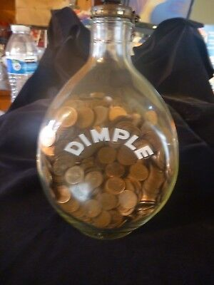 Vintage Decorative Haig Dimple Bottle with Great Britain New Penny 1/2