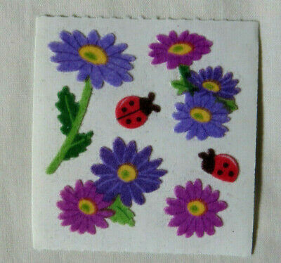 Sandylion FUZZY DAISIES & LADYBUGS - 1 Square Vintage RETIRED Stickers RARE'