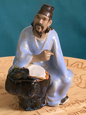 A Superb 11 cm Chinese Shiwan Glazed Pottery Ancient Wiseman Writing Poem Statue