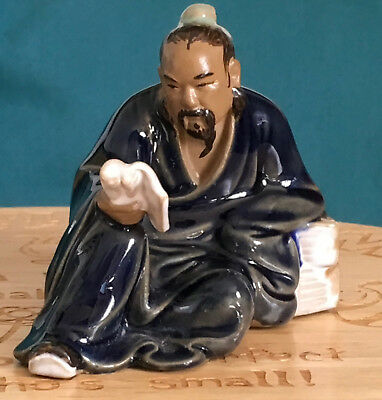 A Superb  Chinese Shiwan Glazed Pottery Ancient Candidate Reading Book Statue