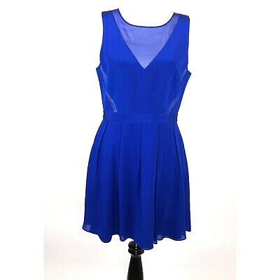 e756453ee1c Jay Godfrey Womens Fit And Flare Silk Dress Blue Size 12 Sleeveless Skater  Dress