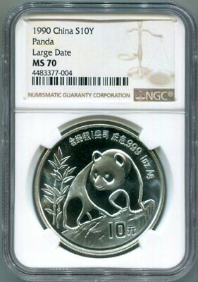 NGC-MS70 1990 LARGE DATE CHINA 1-OZ Silver PANDA 10-Yuan Coin - POP. 7 !!