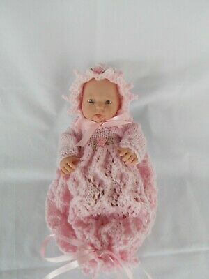 Hand Knitted dolls clothes (Pink Winter set), to fit 24cm (9.5-10 inch) doll