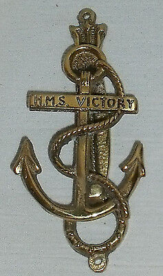 "HMS Victory Door Knocker Brass Anchor Vtg 5.5"" H.M.S. Victory Nautical"