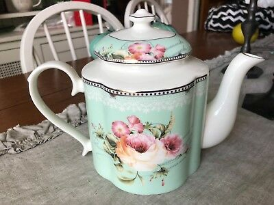 Green W  Victorian Roses Script And Lacey Overlay Trim Teapot New