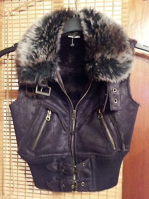 Bnwot Tammy Chocolate Fake Fur Leather Look Gilet Age 8 Yrs