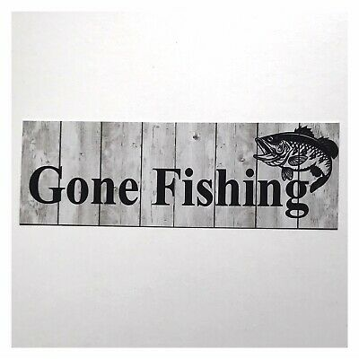 Gone Fishing Sign Rustic Wall Plaque or Hanging Boat Fish Man Father