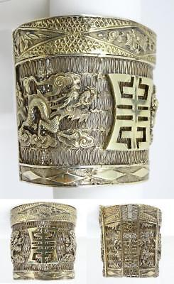 Antique Chinese Gilt Silver Filigree Dragons Wide Hinged Bangle Bracelet 2 5/8""
