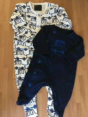 New Next Baby Boys Blue Navy Cars Vehicles Cotton Sleepsuits Romper Newborn 0-1