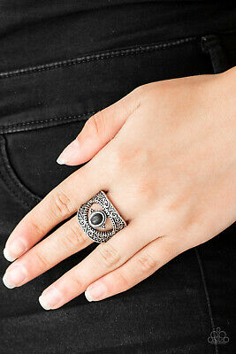 Paparazzi ~ Rural Relic ~ Black Stone Silver Filigree Ring ~ Beauty