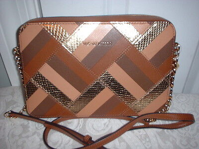 dfabdab2b0d2 NWT Michael Kors Marquertry Patchwork Large Leather EW Crossbody Handbag  Luggage