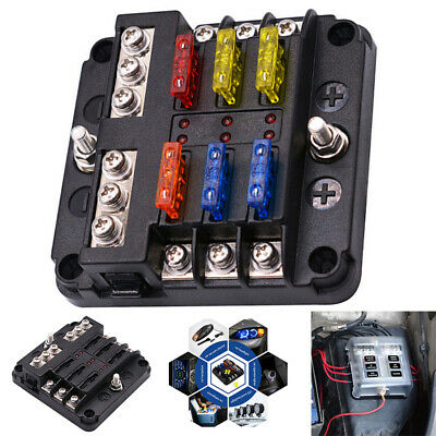 19PCS 6 Way Circuit Blade Fuse Box Block Holder LED Indicator Car Marine 12V 24V