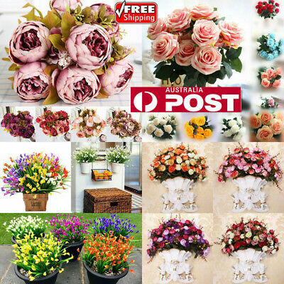 13 Heads Vintage Artificial Fake Peony Silk Flowers Bouquet Party Home Decor AU