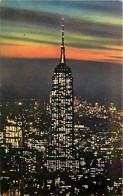 New York City~Empire State Building at Night~1960s Postcard