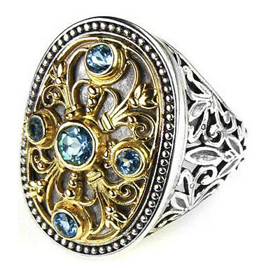 Gerochristo 2516 ~ Solid Gold, Silver & Blue Topaz - Medieval Byzantine Ring