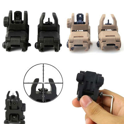 2x Tactical Resin Flip-up Sights Front&Rear Foldable Backup For 20mm Rial Rifle