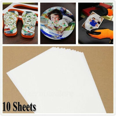 10Pcs A4 Iron On Print Heat Press Transfer Paper Light Fabric T-Shirt Handmade -