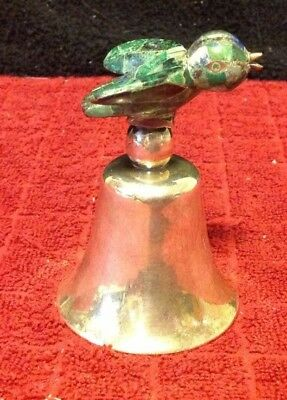 Unique RARE Vintage Silver Plated Dinner Service Bell Marble Mosaic Bird Topper