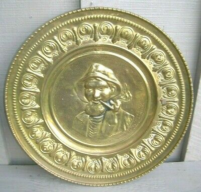 """Old Vintage Brass Charger Wall Plaque 12""""  Fisherman Decor Made In England"""