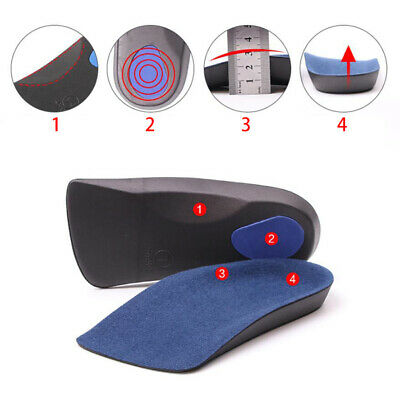 3/4 Orthotic Arch Support Insoles For Plantar Fasciitis Fallen Flat Feet Comfort