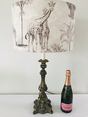 Antique Brass French Rococo Style Vintage Lamp & New Shade -73cm - Pat Tested