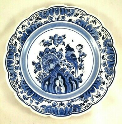 Delft Blue Large White Plate Dutch Holland Wall Hanging Hand Painted Vintage Vtg