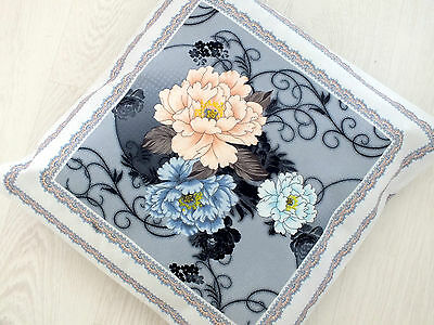 2 Blue Grey Peony Floral Flower Cushion Cover Pillow Case Chinese Japanese Bg2