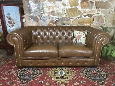 Vintage Chesterfield Leather 2+ Seater Lounge Chair~Sofa~Rich Tobacco Brown